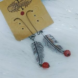 Plunder Silver Feather Long Earrings  Dangle Drop